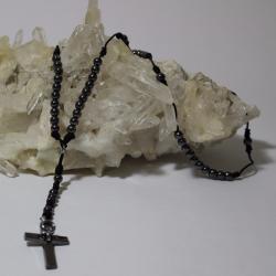 Rosario tejido con piedras de Hematita_1044