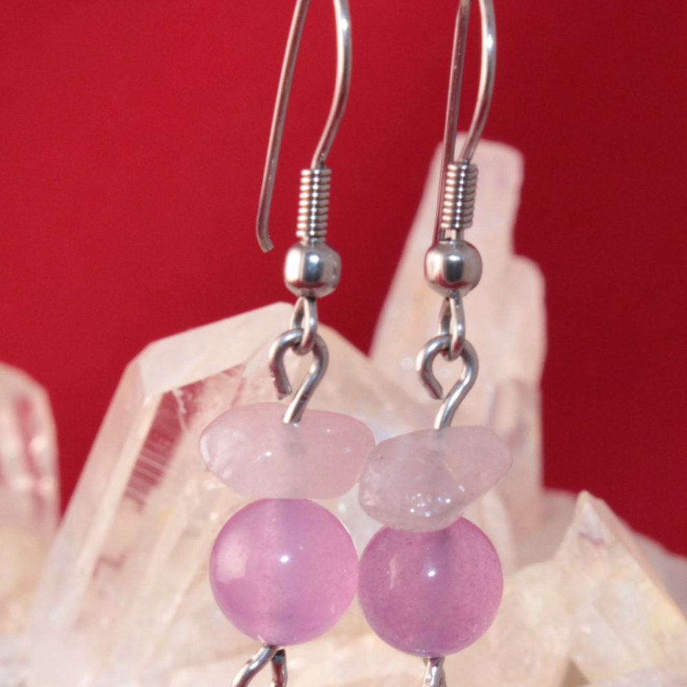 Aretas en acero, piedra natural amatista y cuarzo rosado_2200